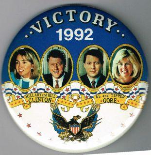 Victory 1992 Bill Clinton Al Gore Pin Pinback Button B407
