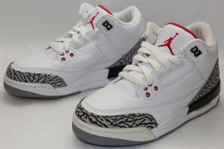 Nike Air Jordan 3 III Retro Sz 5 Y White Fire Red Cement Grey 398614