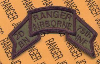 2D BN 75th Inf Airborne Ranger 1974 1984 Scroll Patch D