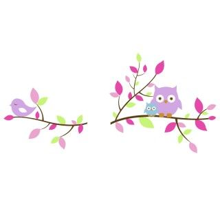 Owls and Bird on Branch Children Wall Decal Removable Vinyl Wall Decal