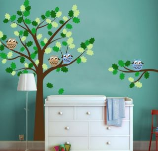 Children Owl Tree Decal with Round Owls Baby Nursery Decor Wall Decal