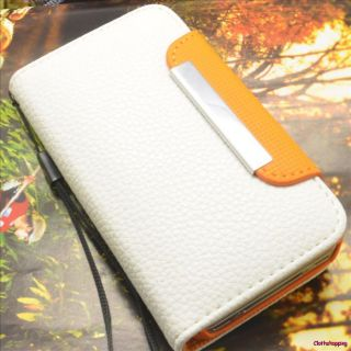 Leather Flip Wallet Hard Case Cover for Apple iPhone 4S 4 AJA