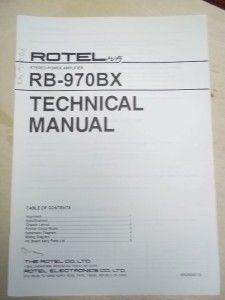 Rotel Service Technical Manual RB 970BX Amplifier Original
