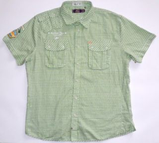 Akoo Mens Sz XXL Embroidered Button Front Shirt in Green and White