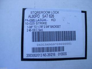 Schlage AL80PD HIGH SECURITY Storeroom LOCK Kaba Gemini Dimple key SAT