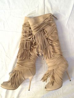 Gucci Akerman Suede Fringed Open Toe Boots Size 37