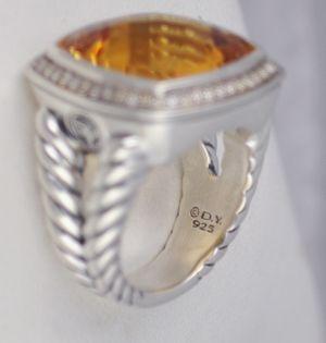 David Yurman 17mm Orange Citrine Diamond Albion Ring $2350
