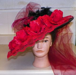 New Edwardian Titanic Tea Wide Brim Ladies Hat 1900s Style Red Black