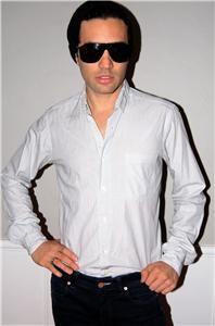 Steven Alan Thin Stripe Men Dress Shirt Black White S