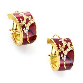 Alessandro Fanfani 18K Yellow Gold Red Enamel & Diamond Earrings