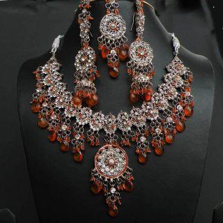 INDIAN JODHA AKBAR JEWELRY SET ETHNIC KUNDAN BRIDAL NECKLACE EARRING