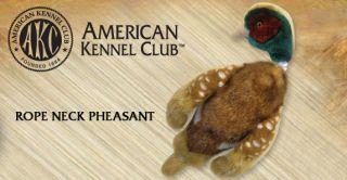 New AKC Mini Rope Neck Pheasant Plush Squeaker Dog Toy
