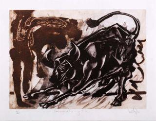 Luis Miguel Valdes 129 Cuban Art Original Print Signed