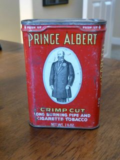 Vintage Prince Albert Red Crimp Cut Tin R J Reynolds Co USA Old Timer