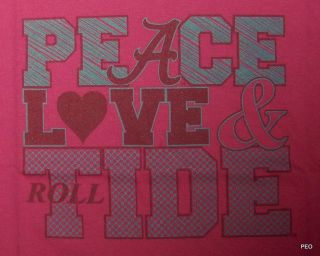 Alabama Crimson Peace Love Tide Pink Crimson T Shirt Roll Tee Shirt