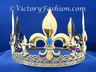 300 Pageant Royal Kings Crown Gold Tone Metal & Faux Jewels