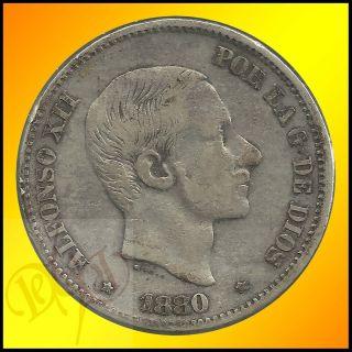 Philippines 50 Centimos de Peso 1880 Alfonso XII Silver Coin