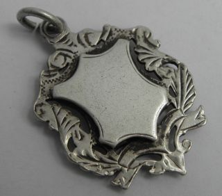 LOVELY ANTIQUE STERLING SILVER ALBERT CHAIN FOB MEDAL B1901 WITH NO