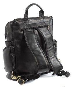 ClaireChase Portofino Large Premium Leather Laptop Backpack Black