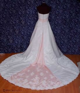 Alfred Angelo 1708 White Satin w/ Pink A line Beaded Wedding Dress 8