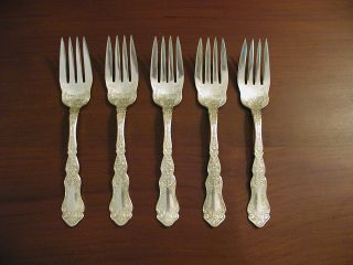 wm rogers son silverplate alhambra 1907 set of 5 salad forks highly