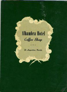 Alhambra Hotel Coffee Shop Menu St Augustine Florida 1950S