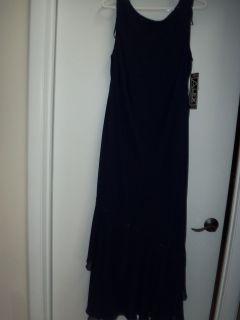 ALEX EVENINGS WOMENS LONG FANCY BEADED GOWN DRESS NAVY BLUE sz 14W 14