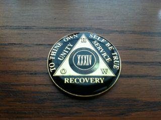 ALCOHOLICS ANONYMOUS AA ENAMEL 34 YEARS HOW TOKEN MEDALLION CHIP COIN