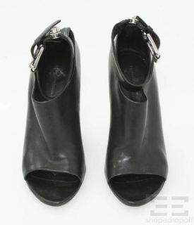 Alexander Wang Black Leather Ankle Strap Zipper Trim Wedge Booties