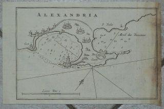 Alexandria Egypt 1764 Roux Antique Copper Engraved Sea Map