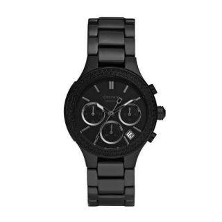DKNY Womens All Black Chrono Ceramic Bracelet Watch NY8184 NEW
