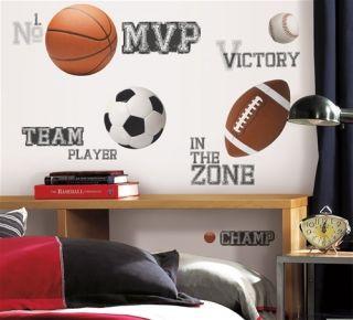 All Star Sports 24 Big Wall Stickers Football Basketball Room Decor