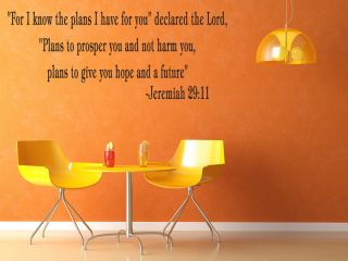 For I Know The Plans Jeremiah 29 11 Vinyl Wall Quote Decal God