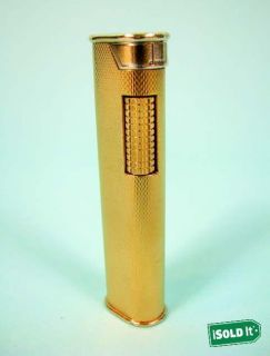 ALFRED DUNHILL GOLD PLATED DRESS LIGHTER ENGINE TURNED FINISH SWISS