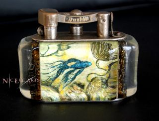 Antique 1950 Alfred Dunhill Aquarium Table Lighter Half Giant fish