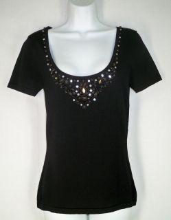 Alberto Makali Black Viscose Nylon Beaded Jeweled Knit Tee Shirt Top M