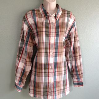 Alfred Dunner Womens Plaid Pattern Tunic Blouse Top Sz 18