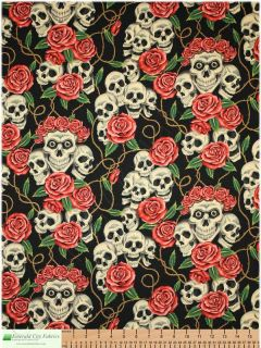 Alexander Henry Rose Tattoo Black Tea Skulls Fabric Yd