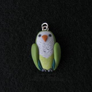 Unique Cute Green Quaker Parrot Monk Parakeet Bird Pendant Jewelry