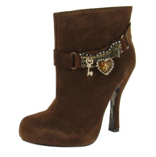 Betsey Johnson Luuceyy Suede Charm Bracelet Ankle High Womens Boots