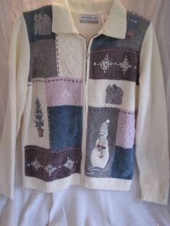 Alfred Dunner Womens Size L Petite White Applique Snowman Snowflake