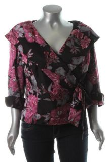 Alex Evenings New Black Floral Print Side Tie Belt Dress Top Blouse