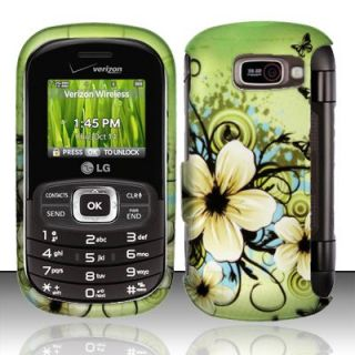 For Verizon LG Octane VN530 Green White Flower Rubberized Hard Case