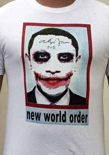 infowars obama joker nwo t shirt signed and decorated by alex jones