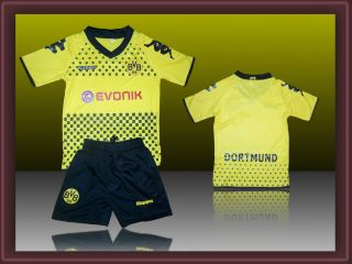 Borussia Dortmund Home Kit Kids Boys Girls Soccer Kit Jersey Shorts