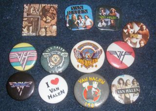 Van Halen Vintage Collectible Buttons 12 Buttons Eddie Alex MIchael