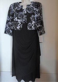 Alex Evenings New Black Sequin Sheath Bolero Dress Womens 14W 14 W