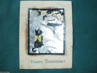 FOIL HAPPY BIRTHDAY CARD CAT WITH BIRD IN CAGE ANTIQUE OLD VINTAGE