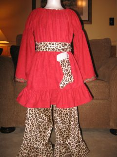 CUSTOM BOUTIQUE CHRISTMAS RESELL PEASANT STOCKING TOP &LEOPARD RUFFLE