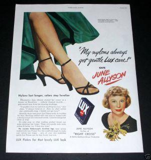 1950 Old Magazine Print Ad Lux Soap Flakes Star June Allyson